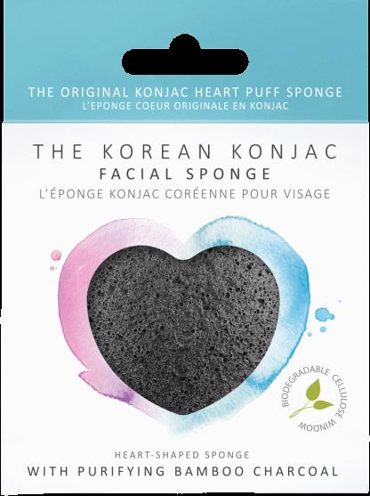 Konjac Heart Sponge Bamboo Charcoal spugna detergente viso purificante The K Beauty