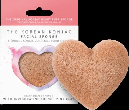 Konjac Heart SPonge French Pink Clay spugna detergente viso pelle sensibile The K Beauty