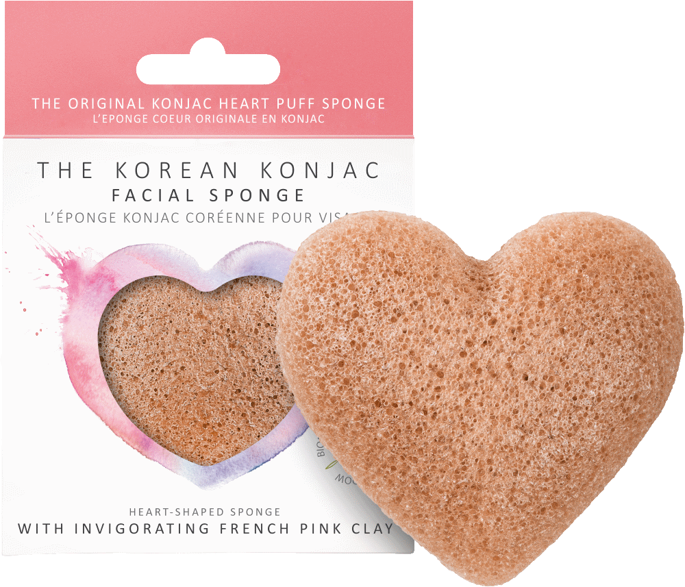 Konjac Heart SPonge French Pink Clay spugna detergente viso pelle sensibile The K Beauty