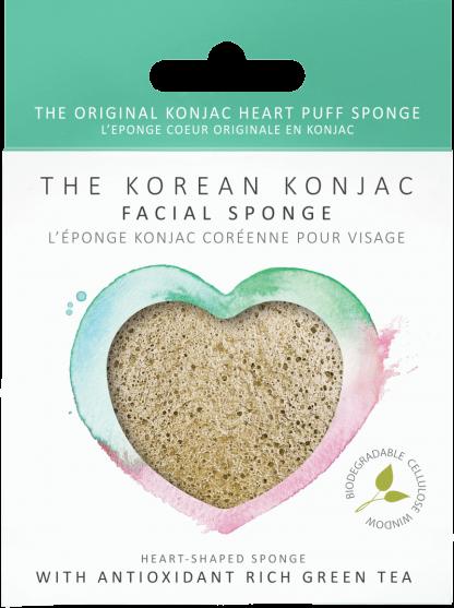 Konjac Heart Sponge Green Tea spugna detergente viso antiage The K Beauty