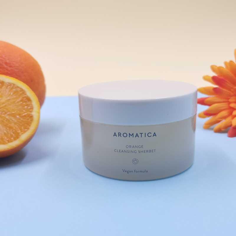 Aromatica Review di Orange Cleansing Sherbet il milgiore struccante di cosmesi coreana green