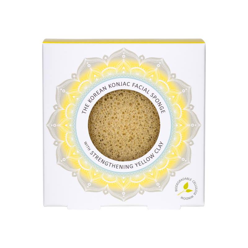 Mandala Konjac Facial Sponge Yellow Clay spugna viso argilla gialla
